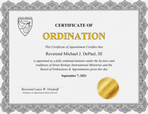 Certificate of Appointment from GetOrdained.com